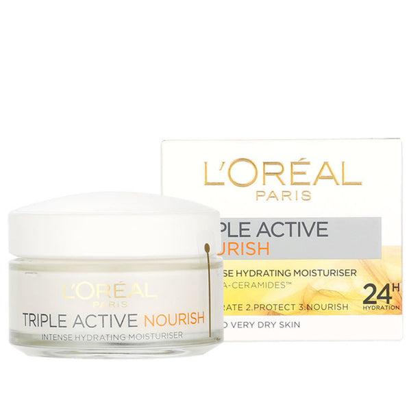 L'Oreal Paris Triple Active Nourish Day cream Intense Hydrating Moisturiser/Dry Skin, 50ml