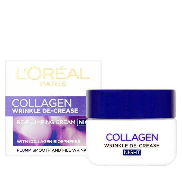 COLLAGEN WRINKLE DE-CREASE TARGETED SOLUTIONS TO SMOOTH, FILL AND PLUMP. Night Cream Enriched With Collagen