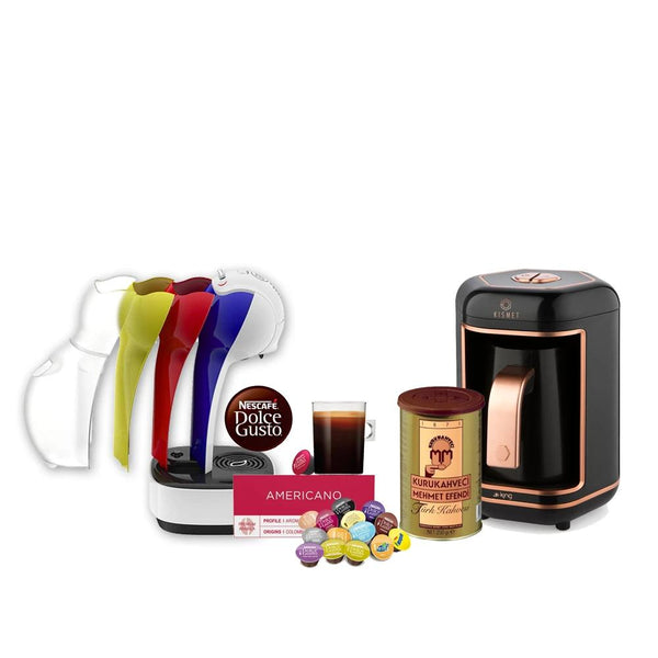 Kismet Turkish coffee maker rose gold + Mehmet Efendi Turkish Coffee+Nescafé Dolce Gusto Mini Me