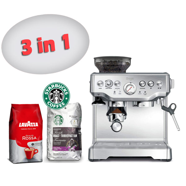 Sage BES875UK The Barista Express Coffee Machine with Temp Control Milk Jug, Brushed Stainless Steel + Starbucks French Dark Roast Whole Bean 100% Arabica Coffee 1.13 Kg + Lavazza Qualita Rossa Coffee Beans 1kg