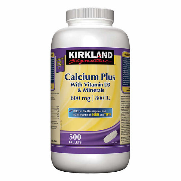 Kirkland Signature Calcium Plus 600 mg, 500 Tablets