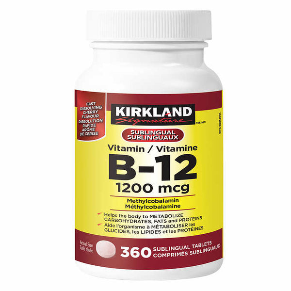 Kirkland Signature Sublingual Vitamin B12, 1200mcg Methlcobalamin, 360 Tablets