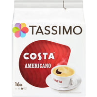 TASSIMO COSTA AMERICANO COFFEE PODS 16 SERVINGS (144G).