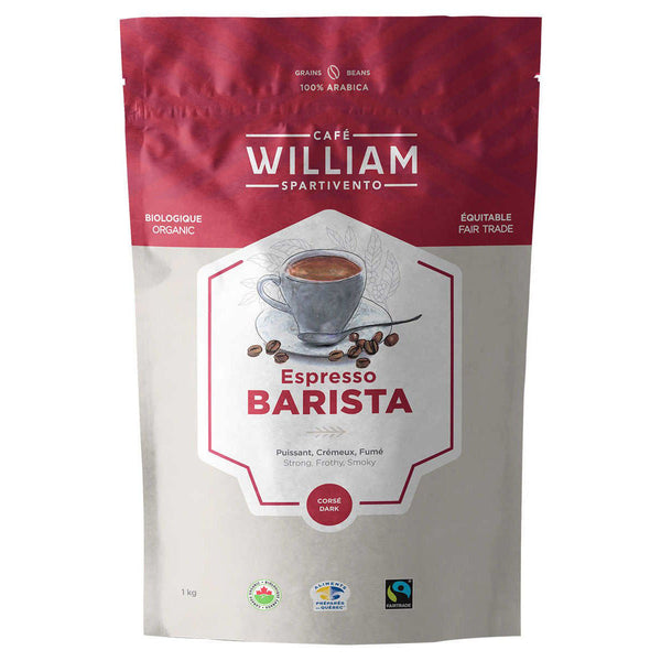 CAFE WILLIAM SPARTIVENTO ESPRESSO BARISTA DARK ROAST FAIR TRADE AND ORGANIC WHOLE BEAN COFFEE