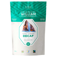 CAFE WILLIAM SPARTIVENTO NATURALLY DECAFFEINATED MEDIUM ROAST FAIR TRADE AND ORGANIC WHOLE BEAN COFFEE