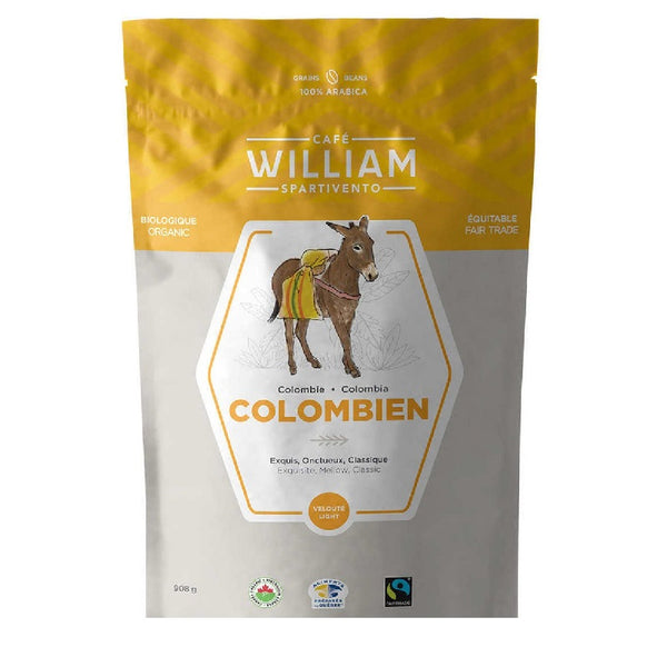 Cafe William Spartivento Colombian Light Roast Fairtrade and Organic Whole Bean Coffee (908g). - shopperskartuae CAFE WILLIAM SPARTIVENTO COLOMBIAN LIGHT ROAST FAIRTRADE AND ORGANIC WHOLE BEAN COFFEE (908G).