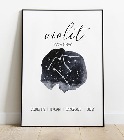 'Aquarius' Star Sign Birth Print