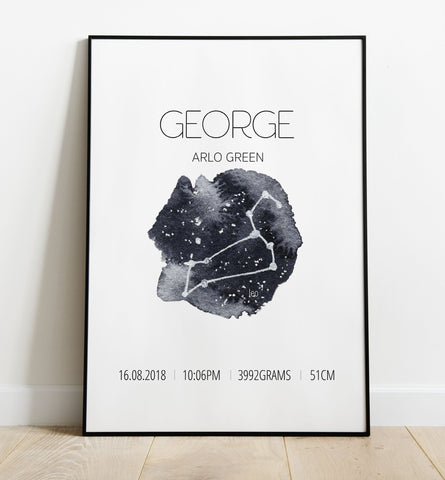 'Leo' Star Sign Birth Print