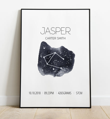 'Libra' Star Sign Birth Print