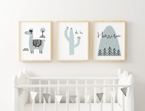 Llama Blue Set of 3 Prints