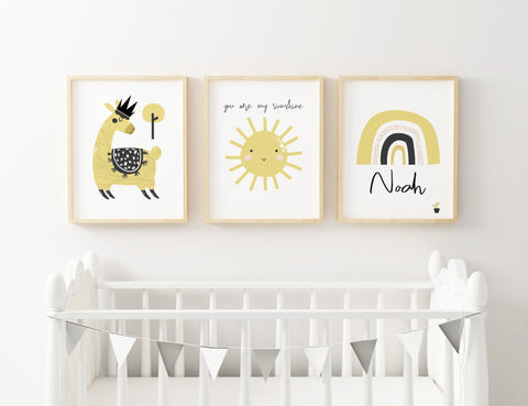 Llama Yellow Set of 3 Prints
