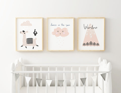 Llama Pink Set of 3 Prints