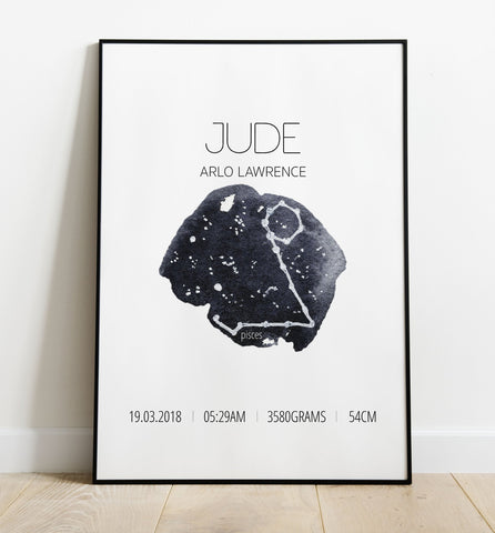 'Pisces' Star Sign Birth Print