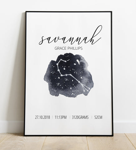 'Scorpio' Star Sign Birth Print