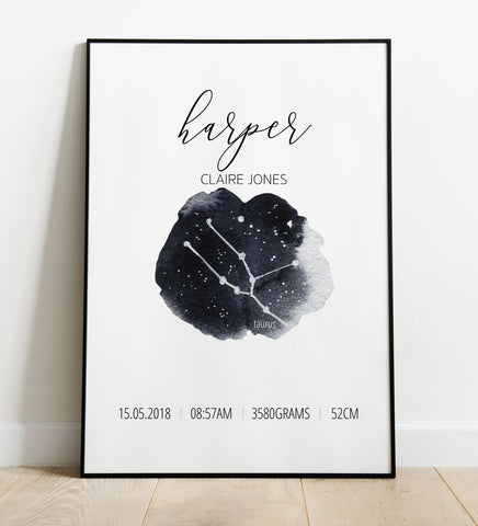 'Taurus' Star Sign Birth Print