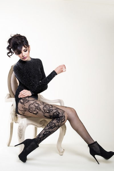 Rose Pattern Fishnet Pantyhose