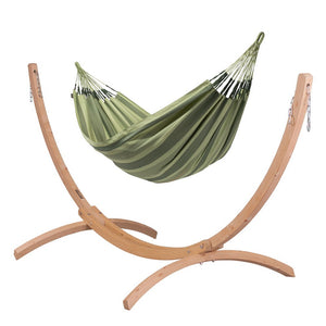 Double Hammock green with Canoa wood stand