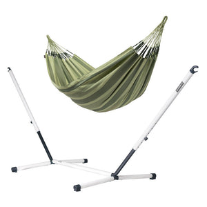 Double Hammock green with nautico powder coated steel stand