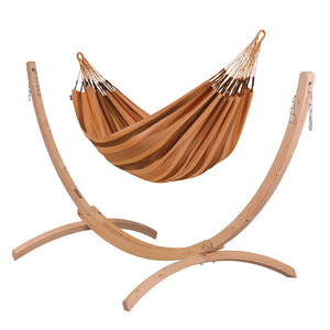Double Hammock brown with Canoa wood stand