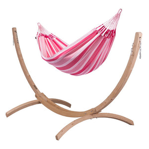 Double Hammock pink with Canoa wood stand