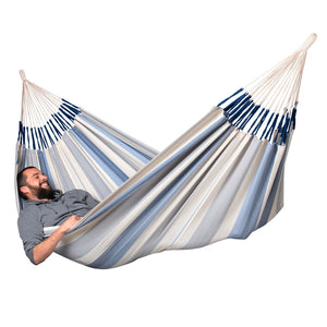 La Siesta Double Hammock light blue and white