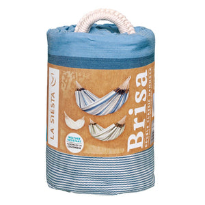 La Siesta Double Hammock light blue and white packaging