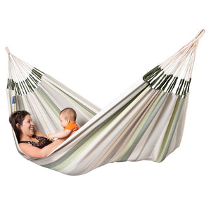 La Siesta Double Hammock green grey and white