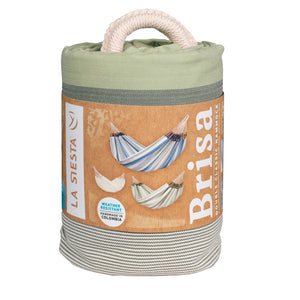 La Siesta Double Hammock green grey and white packaging