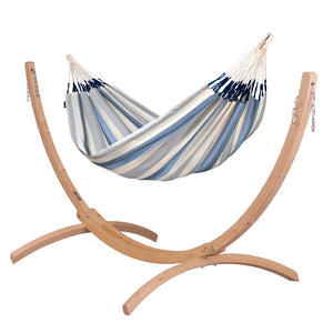 Double Hammock light blue and white with Canoa wood stand