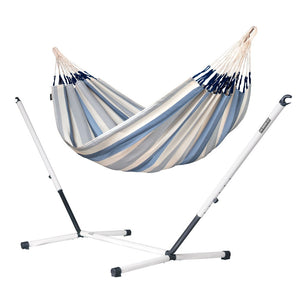 Double Hammock light blue and white with nautico powder coated steel stand