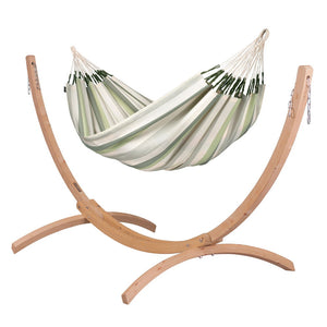 Double Hammock green grey and white with Canoa wood stand