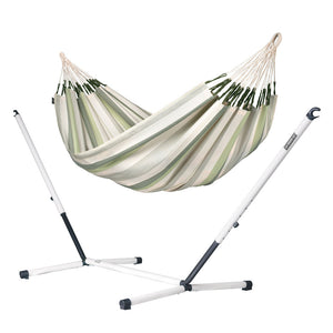Double Hammock green grey and white with Nautico powder coated steel stand