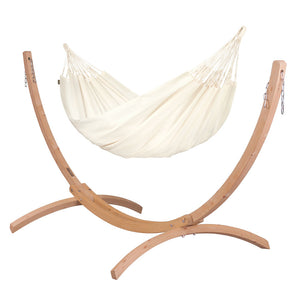 Double Hammock vanilla with Canoa wood stand