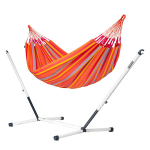 Double Hammock orange with nautico powder coated steel stand