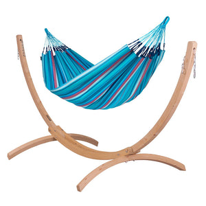 Double Hammock blue and purple with Canoa wood stand