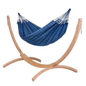 Double Hammock blue with Canoa wood stand