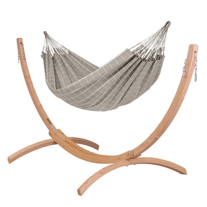 Double Hammock almond with Canoa wood stand