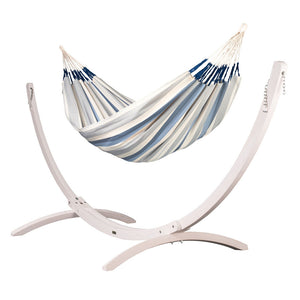 Kingsize Classic Hammock light blue and white with Canoa wood stand white