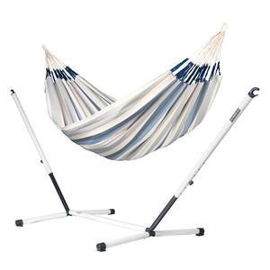 Kingsize Classic Hammock light blue and white with Nautico powder coated steel stand
