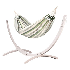 Kingsize Classic Hammock green grey and white with Canoa wood stand white