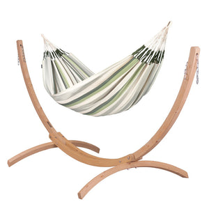 Kingsize Classic Hammock green grey and white with Canoa wood stand caramel