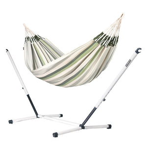 Kingsize Classic Hammock green grey and white with Nautico powder coated steel stand
