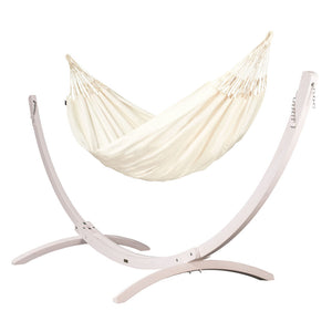 Kingsize Classic Hammock vanilla with Canoa wood stand white