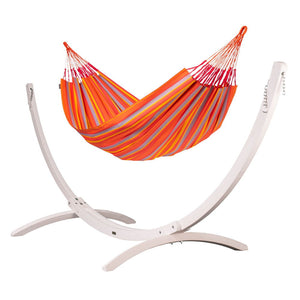 Kingsize Classic Hammock orange with Canoa wood stand white
