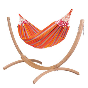 Kingsize Classic Hammock orange with Canoa wood stand caramel