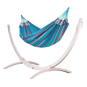 Kingsize Classic Hammock blue and purple with Canoa wood stand white
