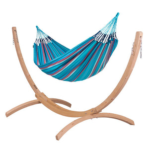 Kingsize Classic Hammock blue and purple with Canoa wood stand caramel