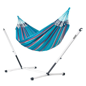 Kingsize Classic Hammock blue and purple with Nautico powder coated steel stand