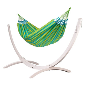 Kingsize Classic Hammock green with Canoa wood stand white