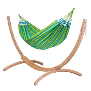 Kingsize Classic Hammock green with Canoa wood stand caramel